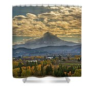 Mount Hood Over Farmland In Hood River In Fall Shower Curtain