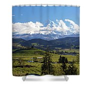 Mount Hood Over Fruit Orchards In Hood River Shower Curtain