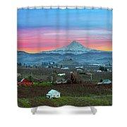 Mount Hood Over Hood River At Sunset Shower Curtain