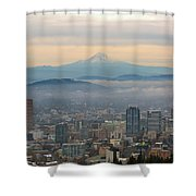 Mount Hood Over Portland Downtown Cityscape Shower Curtain