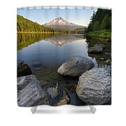Mount Hood Reflection At Trillium Lake Shower Curtain