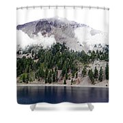 Mount Lassen Volcano In The Clouds Shower Curtain
