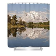 Mount Moran On Oxbow Bend Panorama Shower Curtain