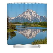 Mount Moran On Snake River Landscape Shower Curtain by Brian Harig