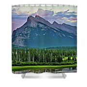 Mount Norquay At Dusk Shower Curtain