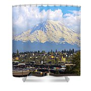 Mount Rainer Over Port Of Tacoma Shower Curtain