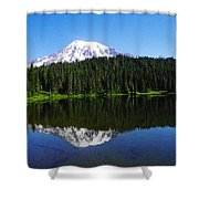 Mount Rainer Reflecting Into Reflection Lake Shower Curtain