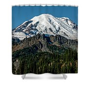 Mount Rainier - Cowilitz Chimneys  Shower Curtain