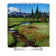 Mount Rainier- Upper Tipsoo Lake Shower Curtain