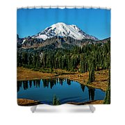 Natures Reflection - Mount Rainier Shower Curtain