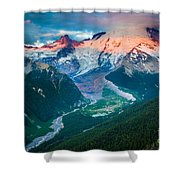 Mount Rainier And White River Shower Curtain