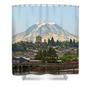 Mount Rainier At Tacoma Waterfront Shower Curtain