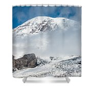 Mount Rainier Behind Clouds 3 Shower Curtain