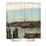 Mount Rainier From City Of Tacoma Washington Waterfront Shower Curtain