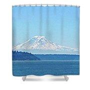 Mount Rainier From Puget Sound Shower Curtain