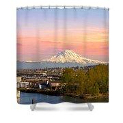 Mount Rainier From Tacoma Marina Shower Curtain