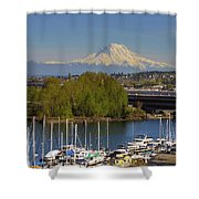 Mount Rainier From Thea Foss Waterway In Tacoma Shower Curtain