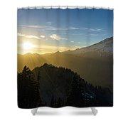 Mount Rainier Golden Dusk Light Shower Curtain