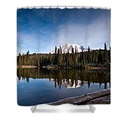 Mount Rainier Reflection Shower Curtain