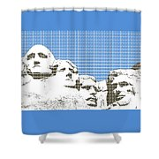 Mount Rushmore - Blue Shower Curtain