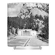Mount Rushmore National Monument Amphitheater South Dakota Black And White Shower Curtain