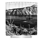 Mount Scott Behind Crater Lake B W Shower Curtain