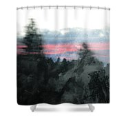 Mount Shasta Forest Sunrise Shower Curtain