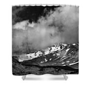 Mount Shasta In Black And White Shower Curtain