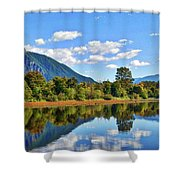 Mount Si Overlooks Mill Pond Shower Curtain