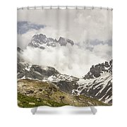 Mount Viso In The Clouds Shower Curtain