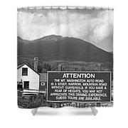 Mount Washington Nh Warning Sign Black And White Shower Curtain