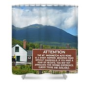 Mount Washington Nh Warning Sign Shower Curtain