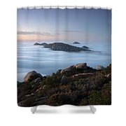 Mount Woodson Above Clouds Shower Curtain