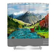 Mountaian Scene Shower Curtain