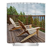 Mountain Adirondack Chairs Shower Curtain