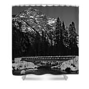 Mountain And Bridge Black And White Shower Curtain