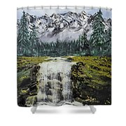 Mountain And Waterfall  Shower Curtain