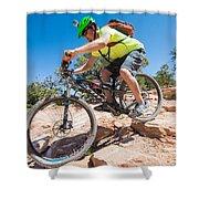 Mountain Biker On The Porcupine Rim Trail Near Moab Shower Curtain