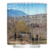 Mountain Bikers In Italian Alps Shower Curtain
