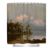 Mountain Canoeing Shower Curtain by Albert Bierstadt
