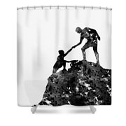 Mountain Climbers-black Shower Curtain