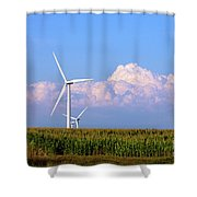 Mountain Clouds And Windmills Shower Curtain