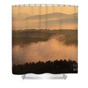 Mountain Dawn Fog Shower Curtain