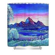 Mountain Dreams Meow Shower Curtain