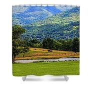 Mountain Farm With Pond Shower Curtain