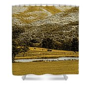Mountain Farm With Pond In Artistic Version Shower Curtain