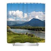 Mountain Filaretka Over Katun River. Altay Shower Curtain