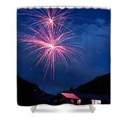 Mountain Fireworks Landscape Shower Curtain