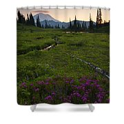 Mountain Heather Sunset Shower Curtain