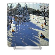 Mountain Hut Shower Curtain by Andrew Macara